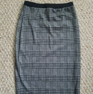 S/M Gray checkered Pencil Skirt